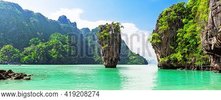 Famous James Bond Island Near Phuket In Thailand. Travel Photo Of James Bond Island In Phang Nga Bay