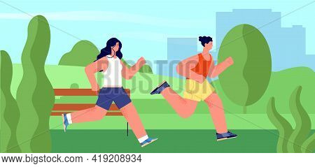 Runners In Park. Outdoor Athlete, Runner Jogging Summer Marathon. Nature Activities, People Run Toge