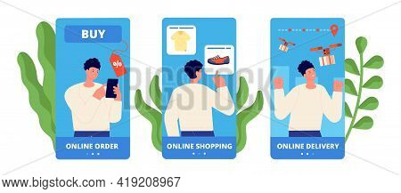 Mobile App Shopping Template. Online Shop, Easy Buy And Pay. Apps Development, Ui Ux Graphic. Flat E