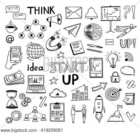 Doodle Business Collection. Sketch Marketing Icons, Hand Drawn Startup Idea Symbols. Isolated Creati