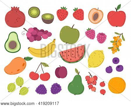Doodle Fruit And Berry. Abstract Berries, Strawberry Juicy Plants. Ripe Raspberry Blackberry Dessert