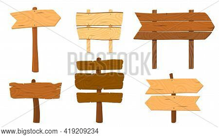 Cartoon Wooden Pointers. Wood Pointer Stick, Arrows Sign. Ui Game Board, Road Plank Or Direction Sig