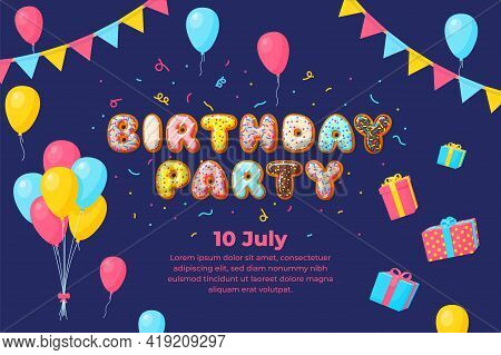 Birthday Kids Party Banner. Balloons Card, Invitation Baby Festive. Gift Boxes, Colorful Balloon, Ga