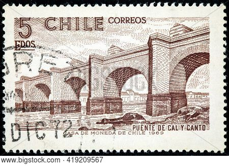 Chile - Circa 1969: A Stamp Printed In Chile Shows First Large Bridge Cal Y Canto Over Mapocho River