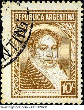 Argentina - Circa 1945: A Stamp Printed In Argentina Shows Bernardino Rivadavia, Circa 1945