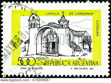 Argentina - Circa 1978: A Stamp Printed In The Argentina Shows Candonga Chapel, Cordoba, Argentina,