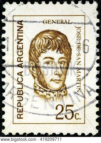 Argentina - Circa 1971: A Stamp Printed In The Argentina Shows Jose De San Martin General Circa 1971