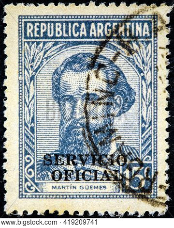 Argentina - Circa 1935: A Stamp Printed In Argentina, Shows Portrait Of Martin Miguel De Guemes (178