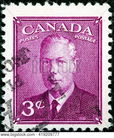 Canada - Circa 1949 A Stamp Printed In The Canada Shows King George Vi, King Of England, Circa 1949