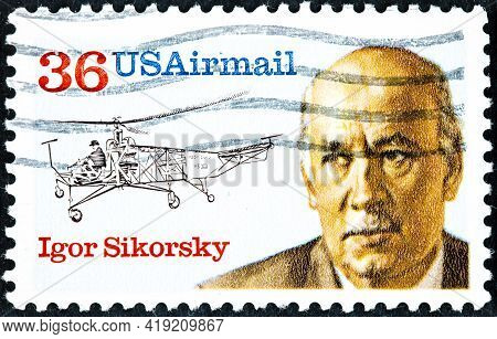 Save Download Preview Usa - Circa 1988: Postal Stamp Printed In Usa Shows Aviator, Helicopter Creato