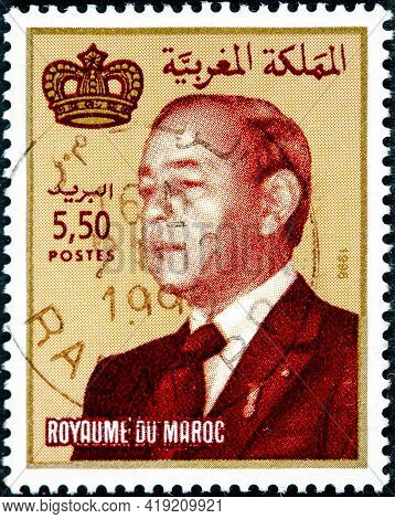 Morocco - Circa 1996: A Stamp Printed In Morocco Shows King Hassan Ii, Circa 1996.