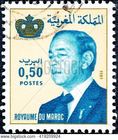 Morocco - Circa 1981: A Stamp Printed In Morocco Shows King Hassan Ii, Circa 1981.