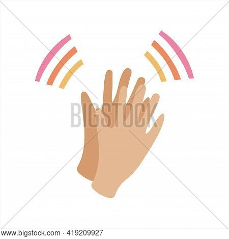 Clapping Your Hands. Applause Gesture In Flat Style. Greetings And Approval