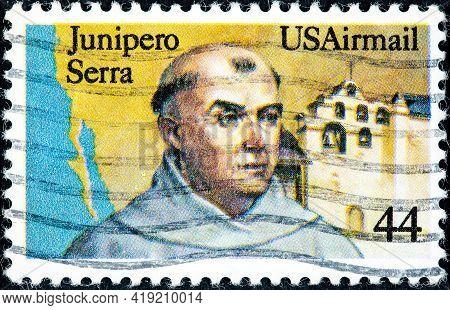 United States Of America - Circa 1985: A Stamp Printed In Usa Shows Fr. Junipero Serra California Mi