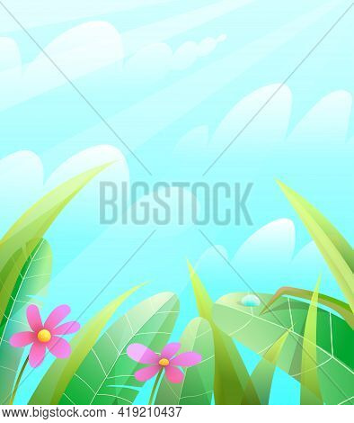 Summer Or Springtime Nature Background With Leaves Grass And Flowers Over The Blue Sky. Green Spring