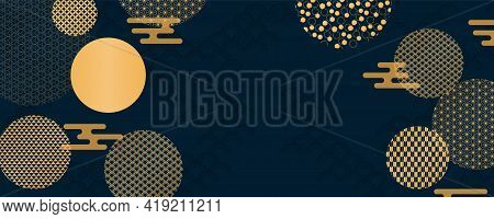 Traditional Asian Background, Eastern Patterns Elements, Clouds, Gold On Blue, Copy Space. Oriental
