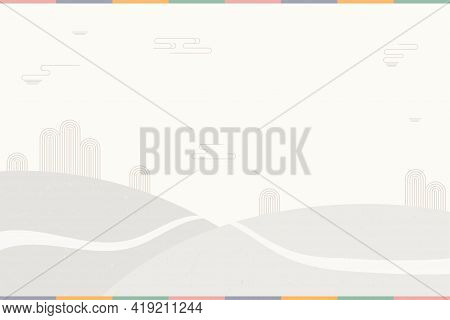 Traditional Asian Background, Landscape With Mountains, Road, Copy Space. Oriental, Eastern Style Ve