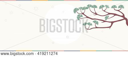 Traditional Asian Background, Pine Tree Branch, Sun, Clouds, Copy Space. Oriental, Eastern Style Vec