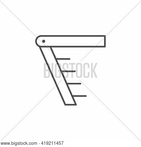 Attic Staircase Line Outline Icon Isolated On White
