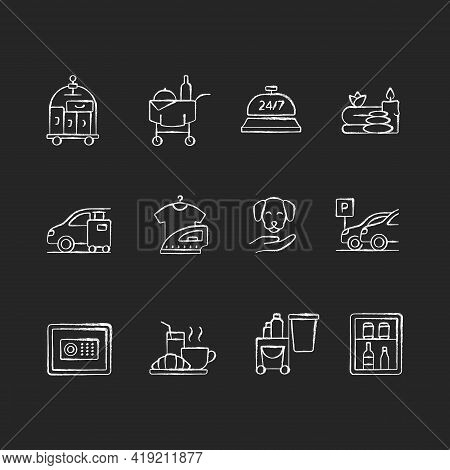 Hotel Services Black Glyph Icons Set On White Space. Room Service For Hotel Visitors To Choose What