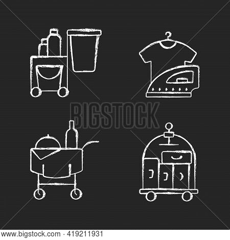 Hotel Services Chalk White Icons Set On Black Background. Pet Friendly Hotels For Visiting With Anim