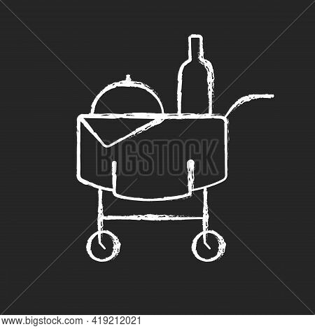 Room Service Chalk White Icon On Black Background. Hotel Service Enabling Guests To Choose Items Of