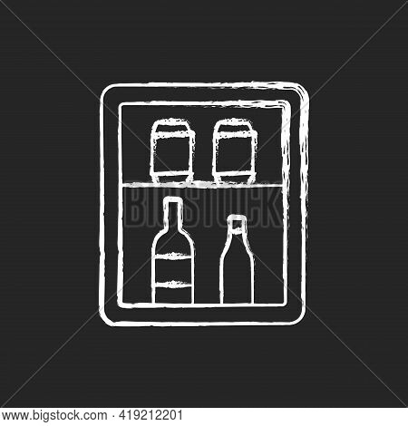 Mini Bar Chalk White Icon On Black Background. Small Refrigerator In Hotel Room Or Cruise Ship State