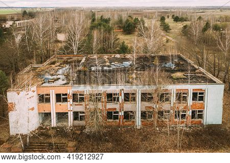 Belarus. Elevated View Of Abandoned Store In Chernobyl Zone. Chornobyl Catastrophe Disasters. Dilapi
