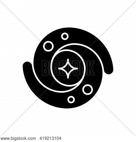 Galaxy Black Glyph Icon. Gravitationally Bound System Of Stars And Planets That Are Spinning Around.