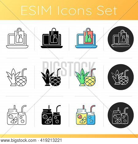 Pickup And Delivery Option Icons Set. Purchasing Alcohol Online. Pina Colada. Fruit-infused Water Bo