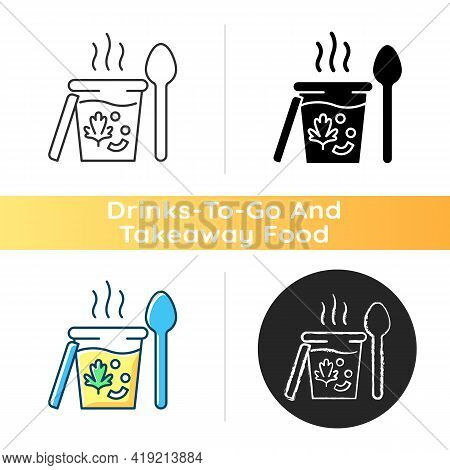 Takeaway Soups Icon. Liquid Food With Meat And Vegetables. Broth, Cream, Chowder. Nutritious Dinner