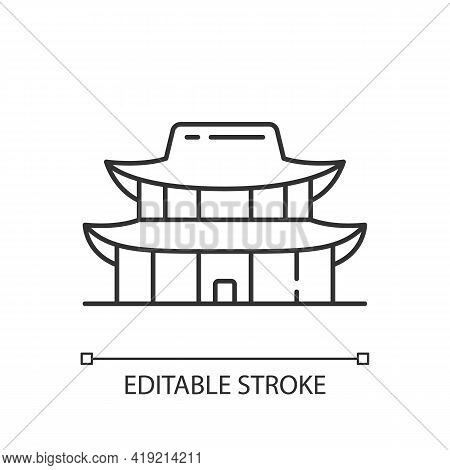Gyeongbok Palace Linear Icon. National Ethnic Architecture. Tourist Landmark For Sightseeing. Thin L