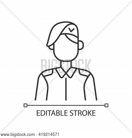 Korean Military Linear Icon. Armed Force. Soldier In Uniform. Service Duty. Guard Officer. Thin Line
