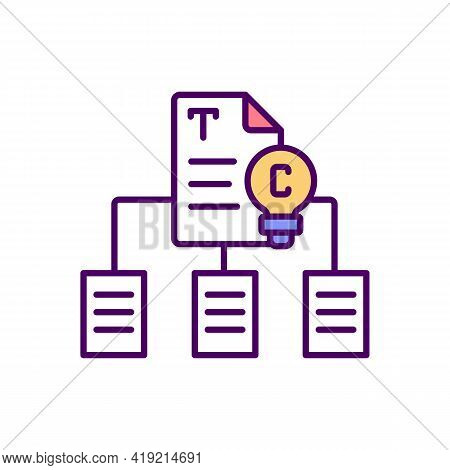 Copyrighted Materials Duplication Rgb Color Icon. Illegal Copying, Reproduction. Educational Purpose