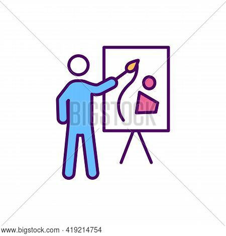 Public Speaking Rgb Color Icon. Giving Speech, Presentation To Live Audience. Public Speaker. Perfor