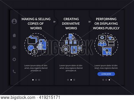 Special Author Rights Onboarding Vector Template. Responsive Mobile Website With Icons. Web Page Wal