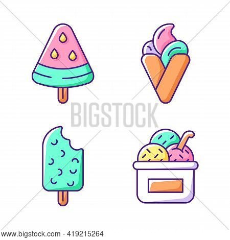 Ice Cream Types Rgb Color Icons Set. Watermelon Shape On Stick. Hong Kong Waffles. Chocolate Flavore