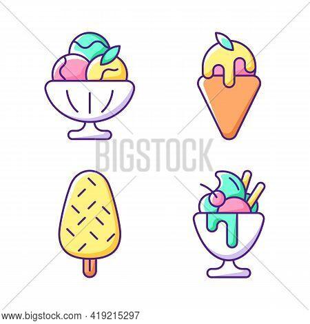 Ice Cream Varieties Rgb Color Icons Set. Sorbet, Sherbet. Gelato. Vanilla Ice Cream With Sprinkles.