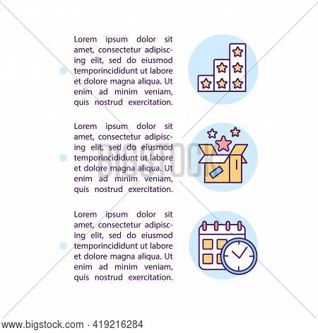 Preferred Benefits And Timing Based Segments Concept Line Icons With Text. Ppt Page Vector Template