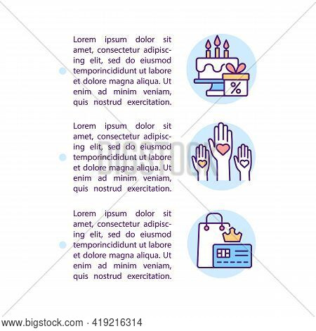 Brand Loyalty Status Concept Line Icons With Text. Ppt Page Vector Template With Copy Space. Brochur