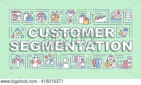Customer Segmentation Word Concepts Banner. Consumer Behavior Analysis. Infographics With Linear Ico