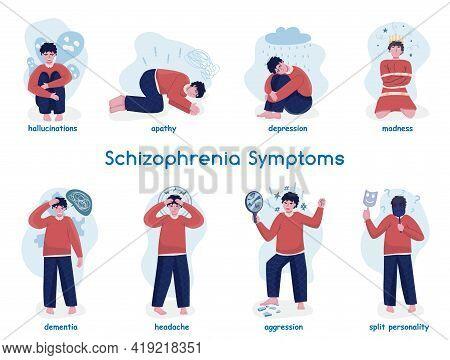 Schizophrenia Symptoms Icons Collection. Editable Vector Illustration