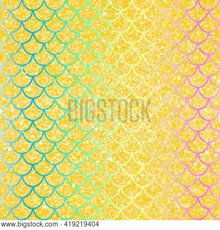 Mermaid Scales. Fish Squama. Rainbow Colors. Vector Illustration.