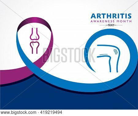 Vector Illustration Of Arthritis Awareness Month Observed Each Year In May. It Is A Common Condition