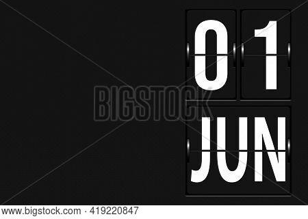 June 1st . Day 1 Of Month, Calendar Date. Calendar In The Form Of A Mechanical Scoreboard Tableau. S