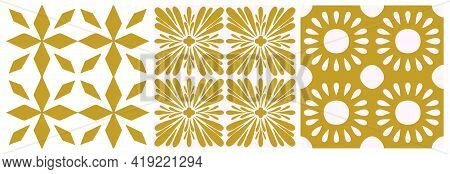 Tile Portugal Seamless Pattern Set. Gold Color Floral Geometric Background. Traditional Azulejo Repe