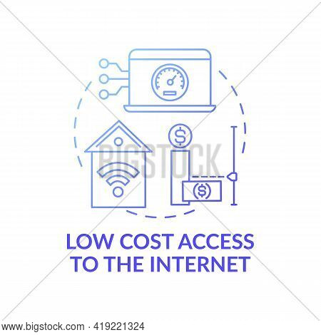 Low Cost Access To Internet Dark Blue Concept Icon. Affordable Technology. Cheap Wifi Connection. Di