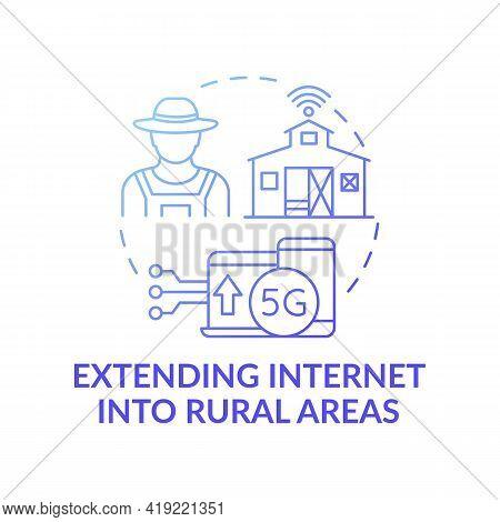 Extending Internet Into Rural Areas Dark Gradient Blue Concept Icon. 5g Connection. Smart Farming. D