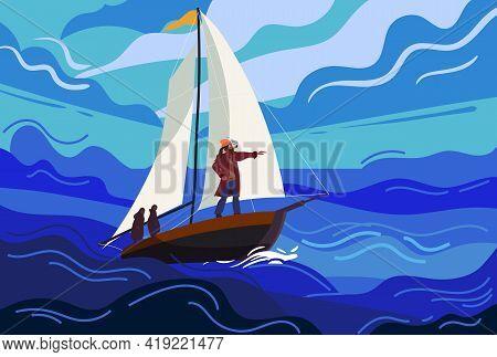 Ship Sailboat During A Storm With A Brave Captain Sails Towards Fate. Seascape, Ocean, Storm, Rain,