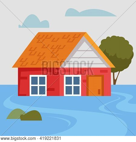 A Sunken Private Brick House During A Natural Disaster And Flood. The Dwelling Is Flooded With Water